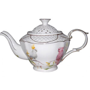 French Country Lovely Teapot COCKATOO China Tea Pot with Giftbox New