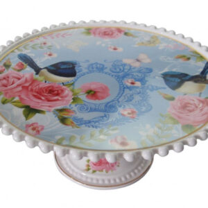 French Country Chic Kitchen Elegant Cake Plate Stand BLUE WREN New 33cm