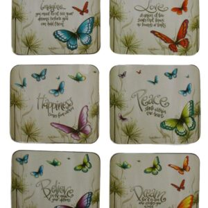 Country Inspired Kitchen BUTTERFLY WISHES Cork Backed Coasters Set 6 Cinnamon
