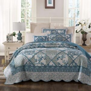 French Country Patchwork Bed Quilt Blue Bouquet Coverlet Assort Sizes