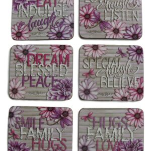 Country Inspired Kitchen DAHLIA Cinnamon Cork Backed Coasters Set 6 New