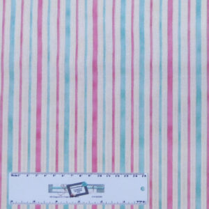 Patchwork Quilting Sewing Fabric PINK AQUA STRIPE 50x55cm FQ New Material