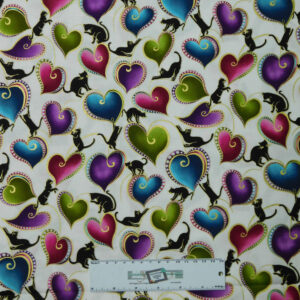 Patchwork Quilting Sewing Fabric CATITUDE Metallic CAT HEARTS 50x55cm FQ New