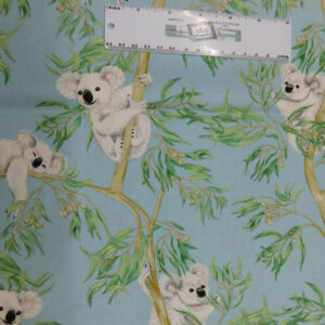 Patchwork Quilting Sewing Fabric AUSSIE KOALA ON BLUE 50x55cm FQ New Material