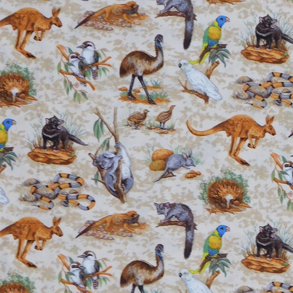 Patchwork Quilting Sewing Fabric AUSSIE ANIMALS Panel 60x110cm New