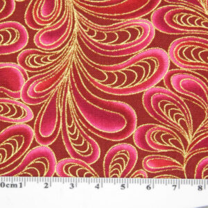 Patchwork Quilting Sewing Fabric CATITUDE Metallic PINK Swirls 50x55cm FQ New