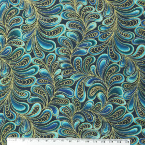 Patchwork Quilting Sewing Fabric CATITUDE Metallic TURQUOISE Swirls 50x55cm FQ New