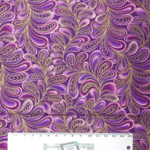 Patchwork Quilting Sewing Fabric CATITUDE Metallic Purple Swirls 50x55cm FQ New