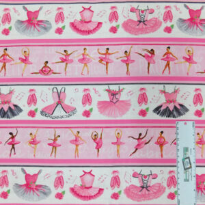 Patchwork Quilting Sewing Fabric BALLERINAS and TUTUS BORDER 50x55cm FQ New