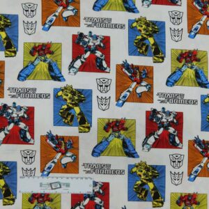 Patchwork Quilting Sewing Fabric TRANSFORMERS 50x55cm FQ New