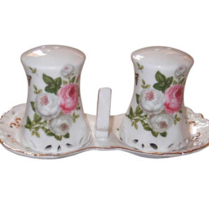 French Country Chic Collectable Salt and Pepper Set BUTTERFLY ROSE New Giftboxed
