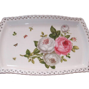 French Country Chic Kitchen Elegant Plate BUTTERFLY ROSE Serving Tray New