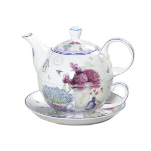 French Country Lovely Teapot SPRING LAVENDER TEA FOR ONE with Gift box New