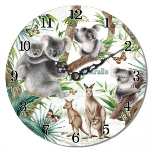 Clock Country Vintage Inspired Wall Hanging AUSTRALIAN WILDLIFE Clock 14.5cm New