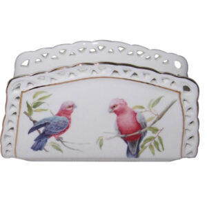 French Country Chic Fine China Kitchen AUSTRALIAN GALAH Napkin Holder New