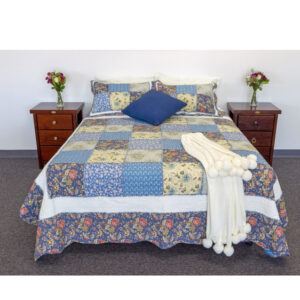 French Country Patchwork Bed Quilt BLUE GAZE SUPER KING Coverlet New
