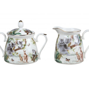 French Country Chic China Kitchen AUSTRALIAN WILDLIFE Sugar and Creamer Set New