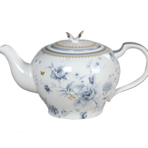 French Country Lovely Teapot BLUE MEADOWS China Tea Pot with Giftbox New