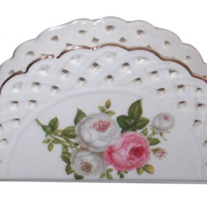 French Country Chic Fine China Kitchen BUTTERFLY ROSE Napkin Holder New