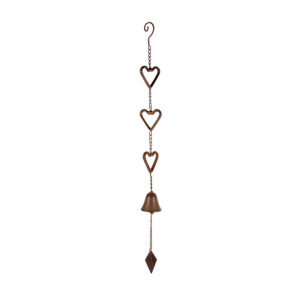 Country Vintage Inspired Wall Art HEARTS Metal Hanging with Bell Rustic New