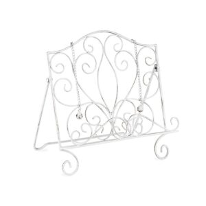 French Country Vintage Kitchen Wrought Iron ANTIQUE WHITE Recipe Book Holder New