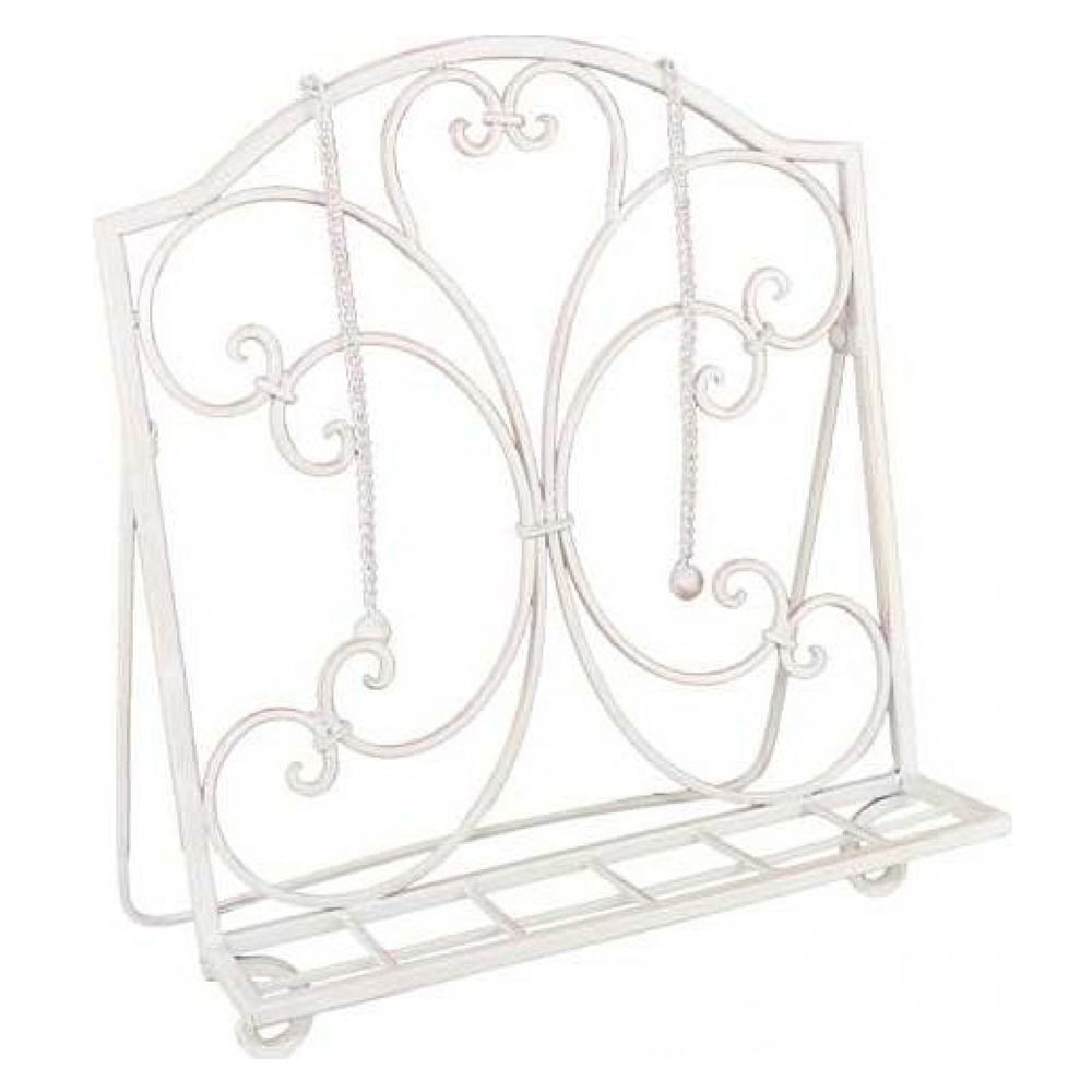 Vintage recipe book stand French wrought iron shabby cook book stand