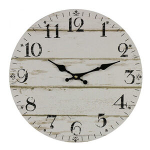 Clocks Country Vintage Inspired Wall WHITEWASH FLOOR BOARDS Clock 34cm New