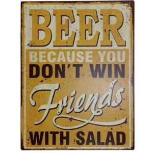 Country Tin Sign Vintage Inspired Wall Art BEER FRIENDS SALAD Retro Plaque New