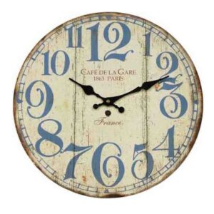 Clocks Country Vintage Inspired Wall CAFE DE LA GARE Clock 34cm New