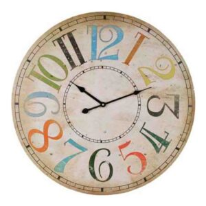 Clocks Country Vintage Inspired Wall COLOURED NUMBERS NEUTRAL Clock 60cm New