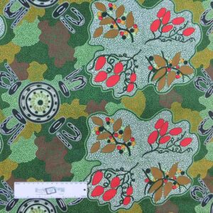 Patchwork Quilting Sewing Fabric ABORIGINAL GATHERING BUSH TUCKER 50x55cm FQ New