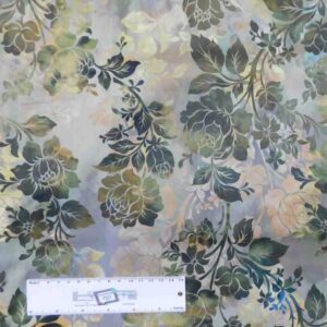 Patchwork Quilting Sewing Fabric DIAPHANOUS OLIVE ROSES 50x55cm FQ New