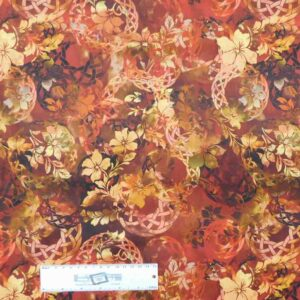 Patchwork Quilting Sewing Fabric DIAPHANOUS RUST WREATH 50x55cm FQ New