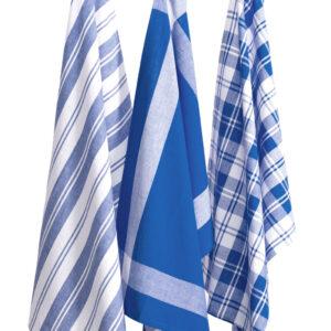 Country Vintage Modern look Tea Towels Cotton Dish Cloths Set 3 DARK BLUE New