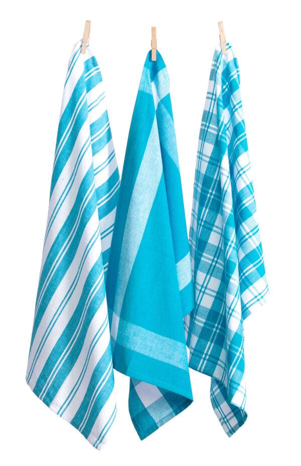 Country Vintage Modern look Tea Towels Cotton Dish Cloths Set 3 LIGHT BLUE New