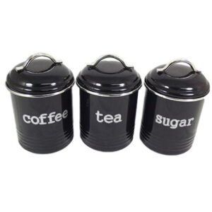 French Country Enamel Retro Kitchen Canisters BLACK Tea Coffee Sugar Set of 3 New