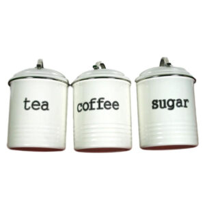 French Country Enamel Retro Kitchen Canisters OFF WHITE Tea Coffee Sugar Set of 3 New