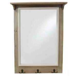 French Country Large Rustic Natural Wooden Frame Mirror with Hooks New