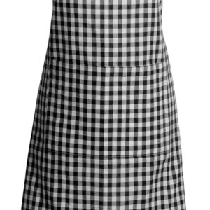 French Country Styled Gingham Check Kitchen Apron BLACK Full Adult Size New