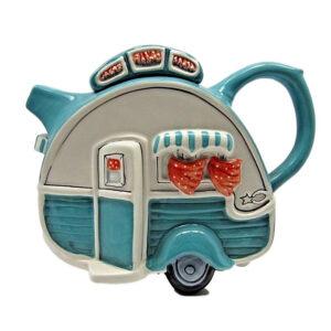 Collectable Novelty Kitchen Teapot CARAVAN Blue Sky China Tea Pot New