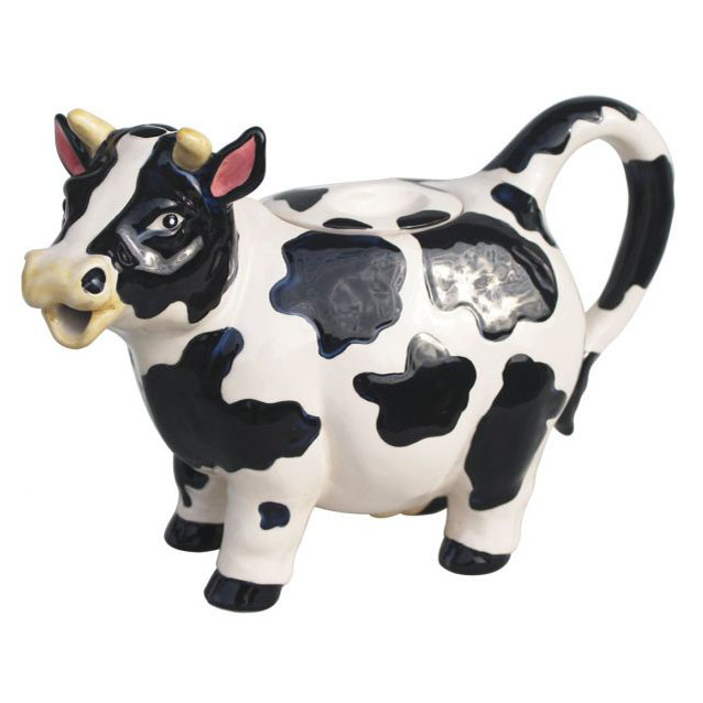 Collectable Novelty Kitchen Teapot COW 2 Blue Sky China ...