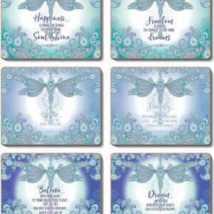 Country Inspired Kitchen DRAGONFLY DREAMS Cinnamon Cork Back Coasters Set 6 New