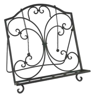 French Country Vintage Kitchen Wrought Iron DARK Recipe Book Holder New