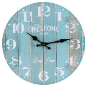 Clocks Country Vintage Inspired Wall WELCOME TO BEACH HOUSE Clock 34cm New