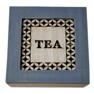French Country Tea Bag Box GREY WITH WOODEN CUTOUTS SQUARE Teabag Holder New