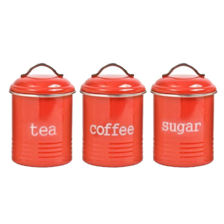 Details about French Country Enamel Retro Kitchen Canisters RED Tea Coffee  Sugar Set of 3 New