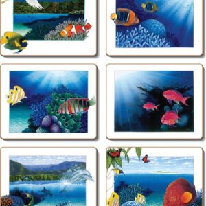 Country Inspired Kitchen REEF FISH Cinnamon Cork Backed Coasters Set 6 New
