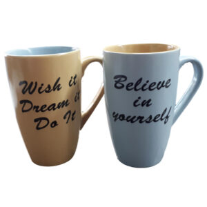 French Country Chic Kitchen Tea Coffee Mugs WISH and BELIEVE Set of 2 New