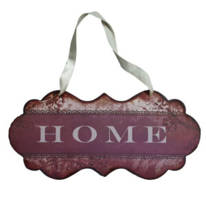 Country Printed Quality Metal Sign with Hanger MAROON HOME Plaque New