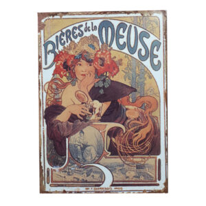 French Country Inspired Vintage Look Wall Tin Signs BIERES DE LA MEUSE New
